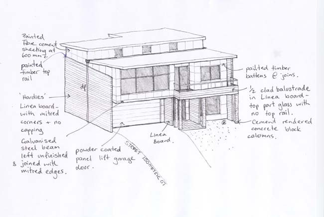 Initial concept sketch for house