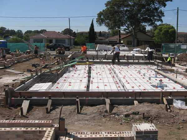 Waffle slab construction by form concrete