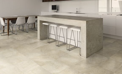 floor tiles and concrete benchtop