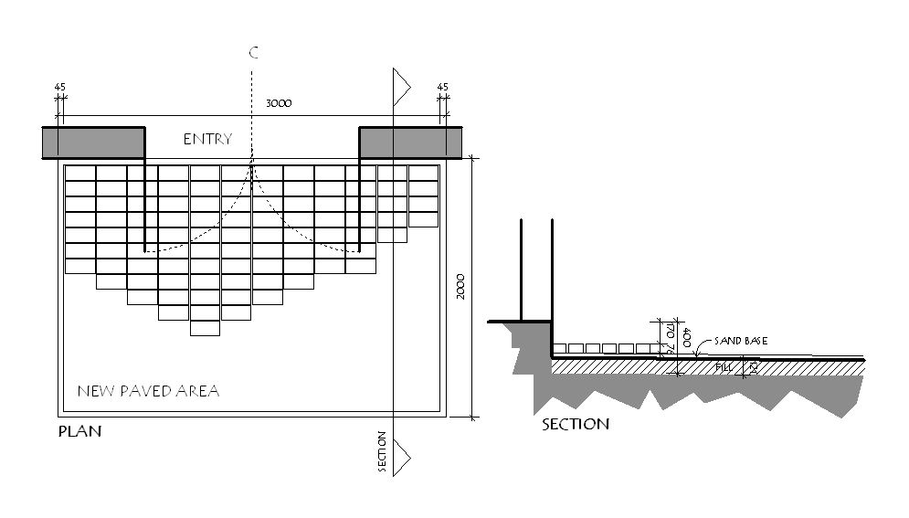 paved area section and plan