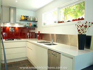 Smarter Kitchens   Red Tiled Splashback