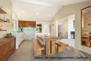 Light blue tiled skirting splashback. Designing Women Sydney