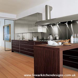 Stainless steel kitchen splashback - super modern