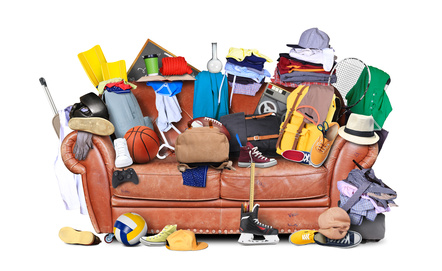 Mess and clutter on a lounge