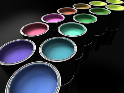 Cans of different coloured paint