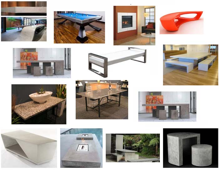 polished concrete furniture and benchtops