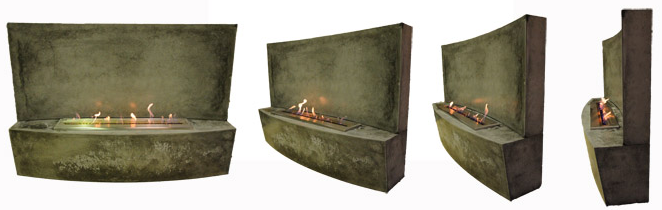 Polished concrete fireplace
