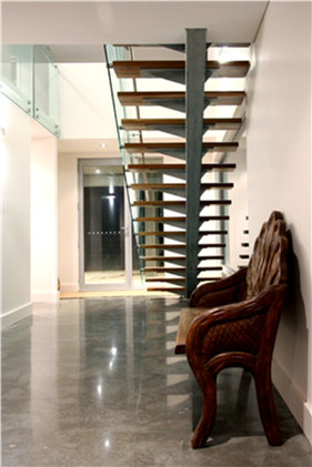 modern steel timber and glass staircase