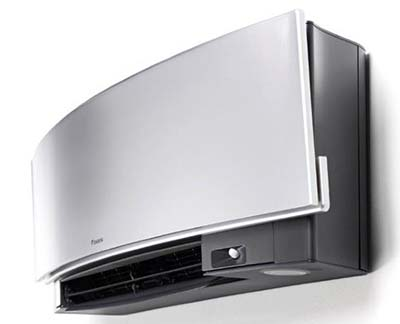 Daikin Zena (silver) air conditioner with vents open